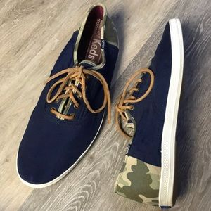 Keds Blue and Camouflage Lace Up Canvas Sneakers